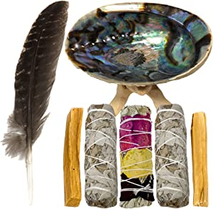 HIPFREE Smudging Kit - White Sage Smudge Sticks for Cleansing - Sage Smudge Kit - White Sage and Palo Santo Sticks - Abalone Shell for Smudging - Smudging Feather - Sage for Cleansing Negative Energy