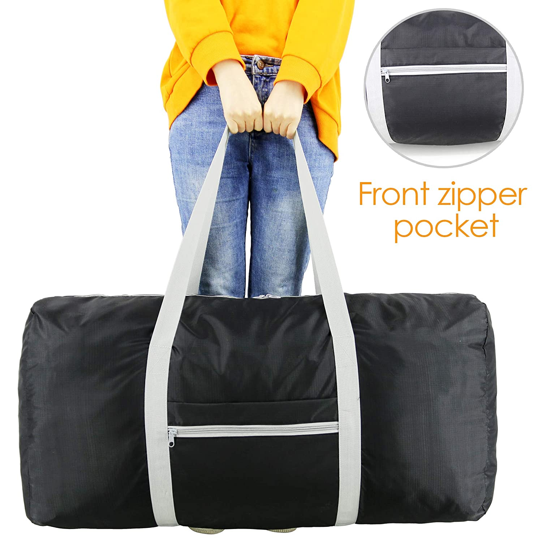 Foldable Travel Duffle Bag XLarge 100L for Men Women Lightweiht Waterproof Ripstop Polyester Folding into Zipper Pocket