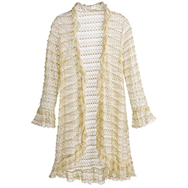 1d519a240b839 Kaktus Women s Open-Front Cardigan- Crocheted Ruffled Gold Threaded Long  Tunic Sweater - Medium