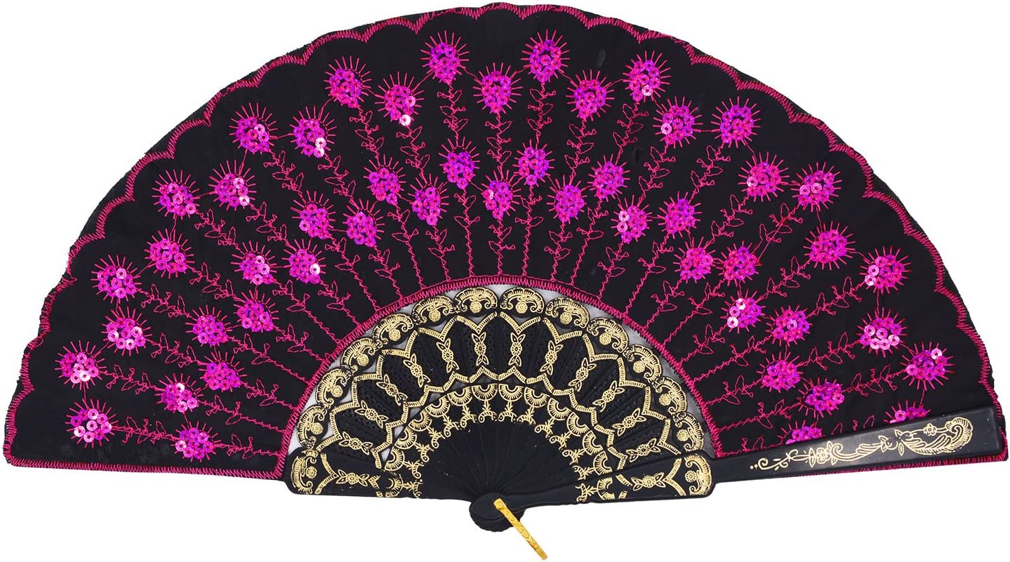 Amajiji Folding Fans for Women,Handmade Elegant Colorful Embroidered Flower Peacock Pattern Sequin Fabric Folding Fans (Rose Red)