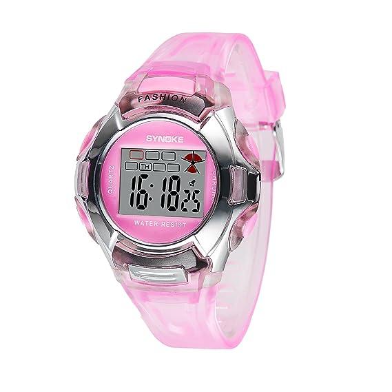 amstt Joven Chica Reloj de pulsera infantil digital de pulsera Relojes Watch Silicona impermeable reloj