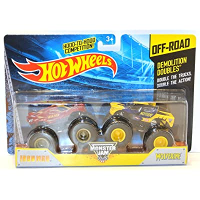 2014 Hot Wheels Off-Road Monster Jam Demolition Doubles Iron Man & Wolverine: Toys & Games