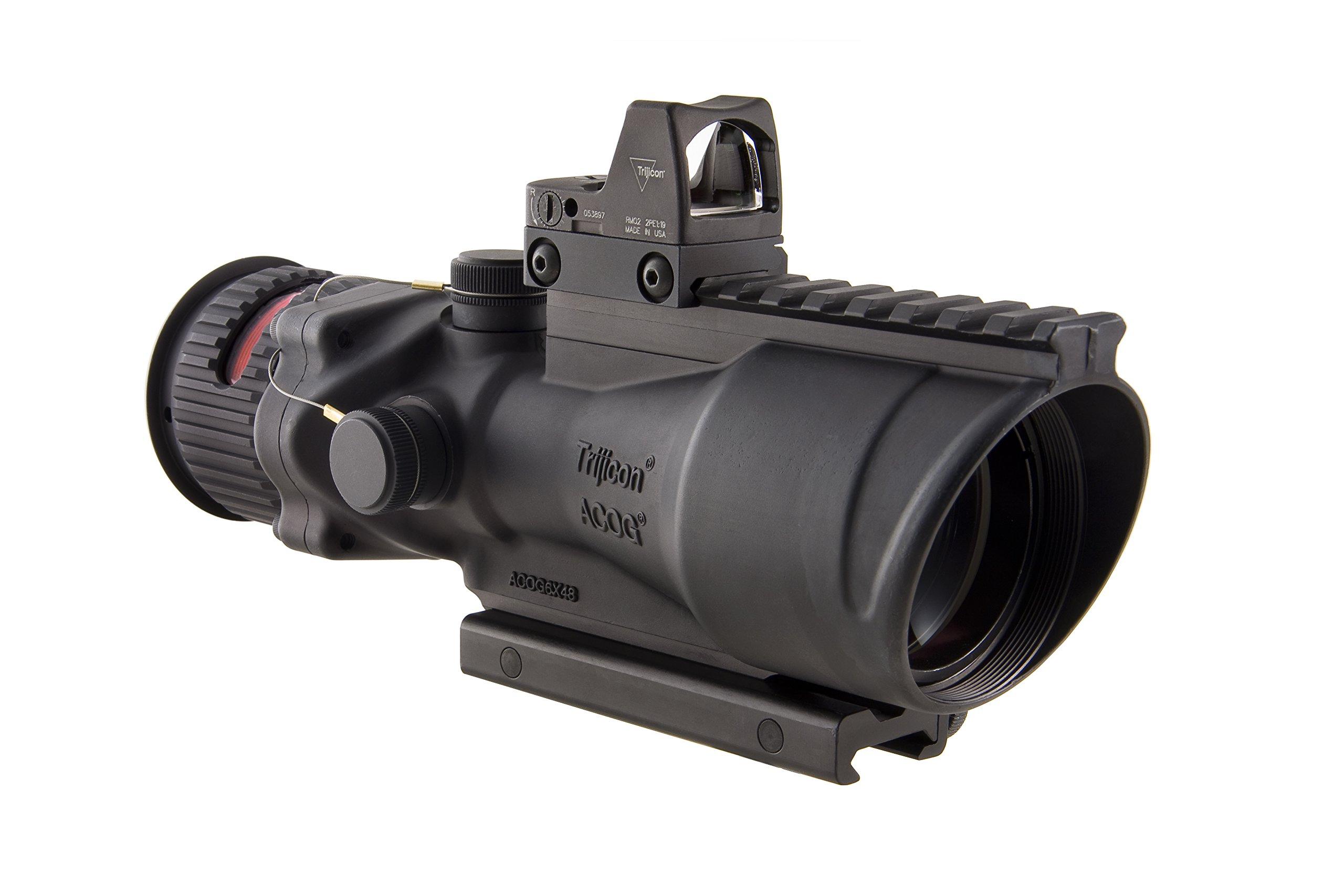 Trijicon ACOG 6 X 48 Machine Gun Optic Dual Illuminated Chevron .50 Ballistic Reticle, Red