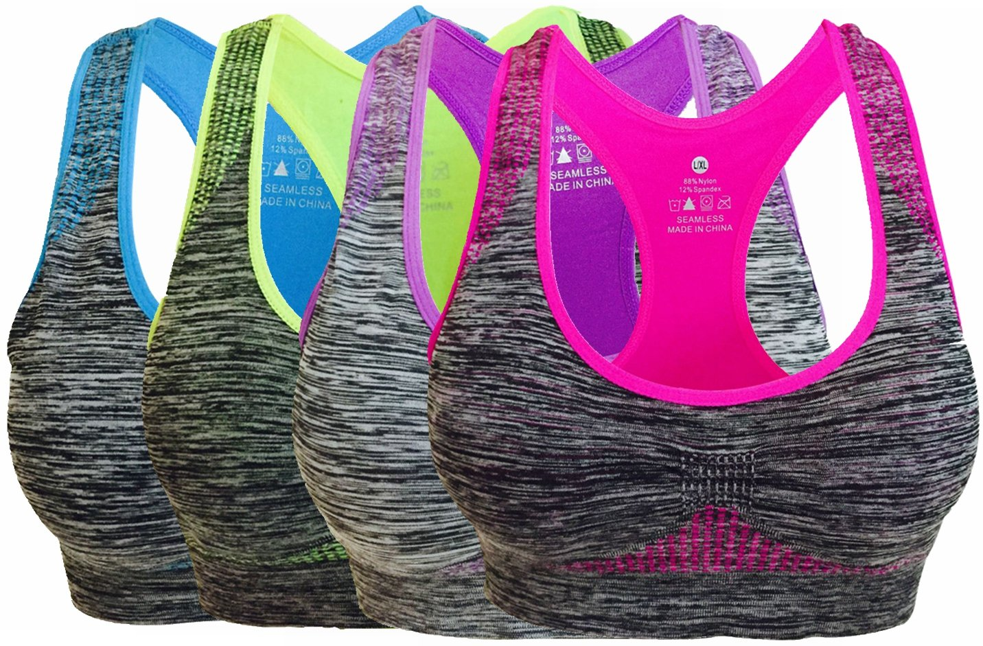 Women's Seamless Sports Bra High Impact Pocket Yoga Bras L 4 Pack