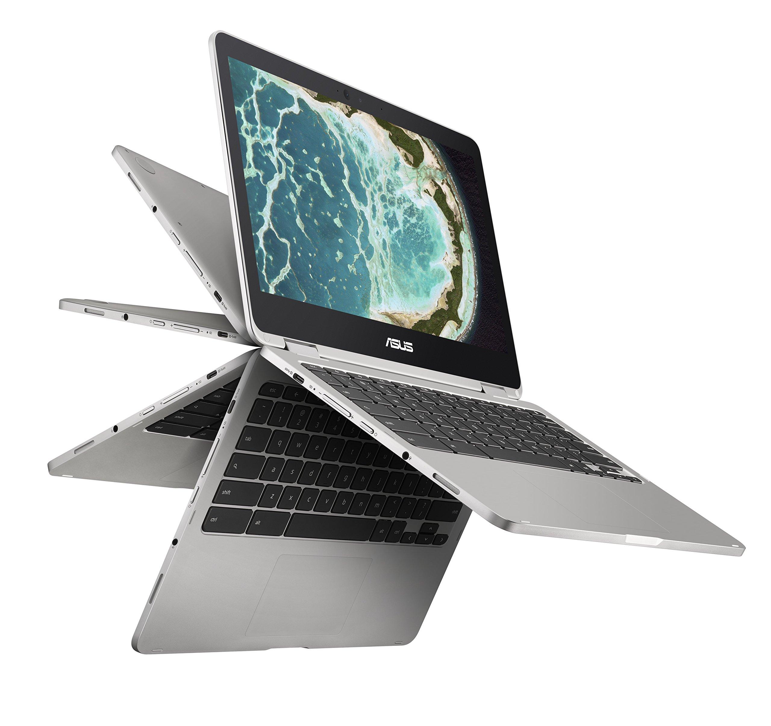 Asus C302CA-DHM4 Chromebook Flip 12.5-Inch Touchscreen Convertible Chromebook, Intel Core M3, 4GB RAM, 64GB Flash Storage, All-Metal Body, USB Type C, Corning Gorilla Glass, Chrome OS by ASUS