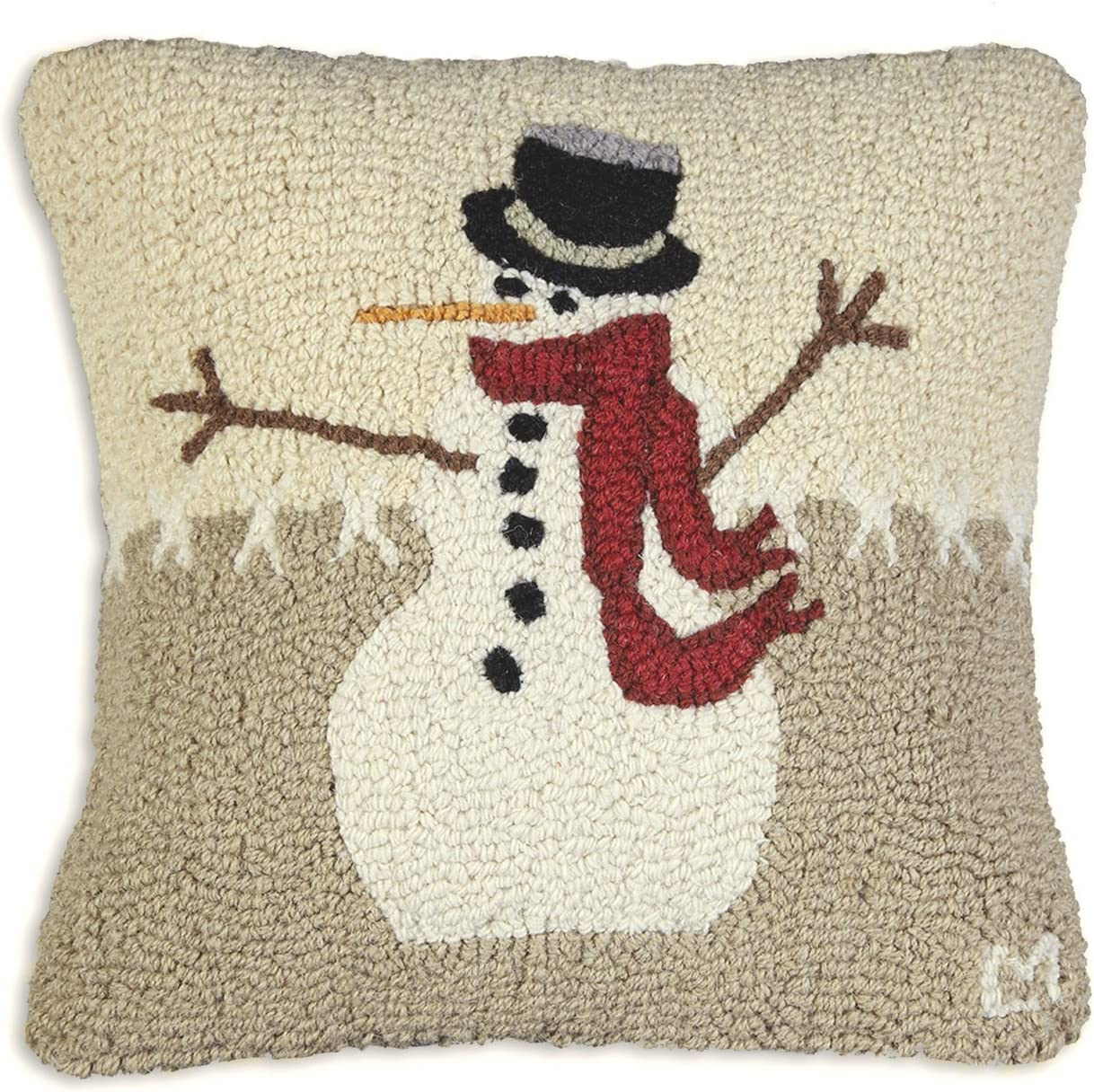 Chandler 4 Corners Artist-Designed Snowman in Stitches Hand-Hooked Wool Decorative Throw Pillow 18 x 18