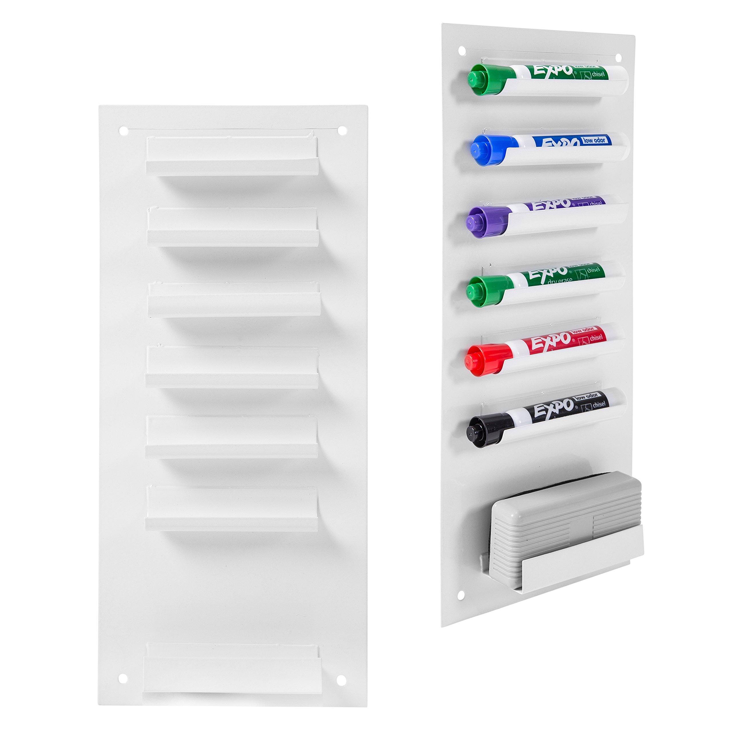 6-Slot Wall Mounted Metal Dry Erase Marker and Eraser Holder/Vertical Storage System, White (Set of 2) by MyGift (Image #1)