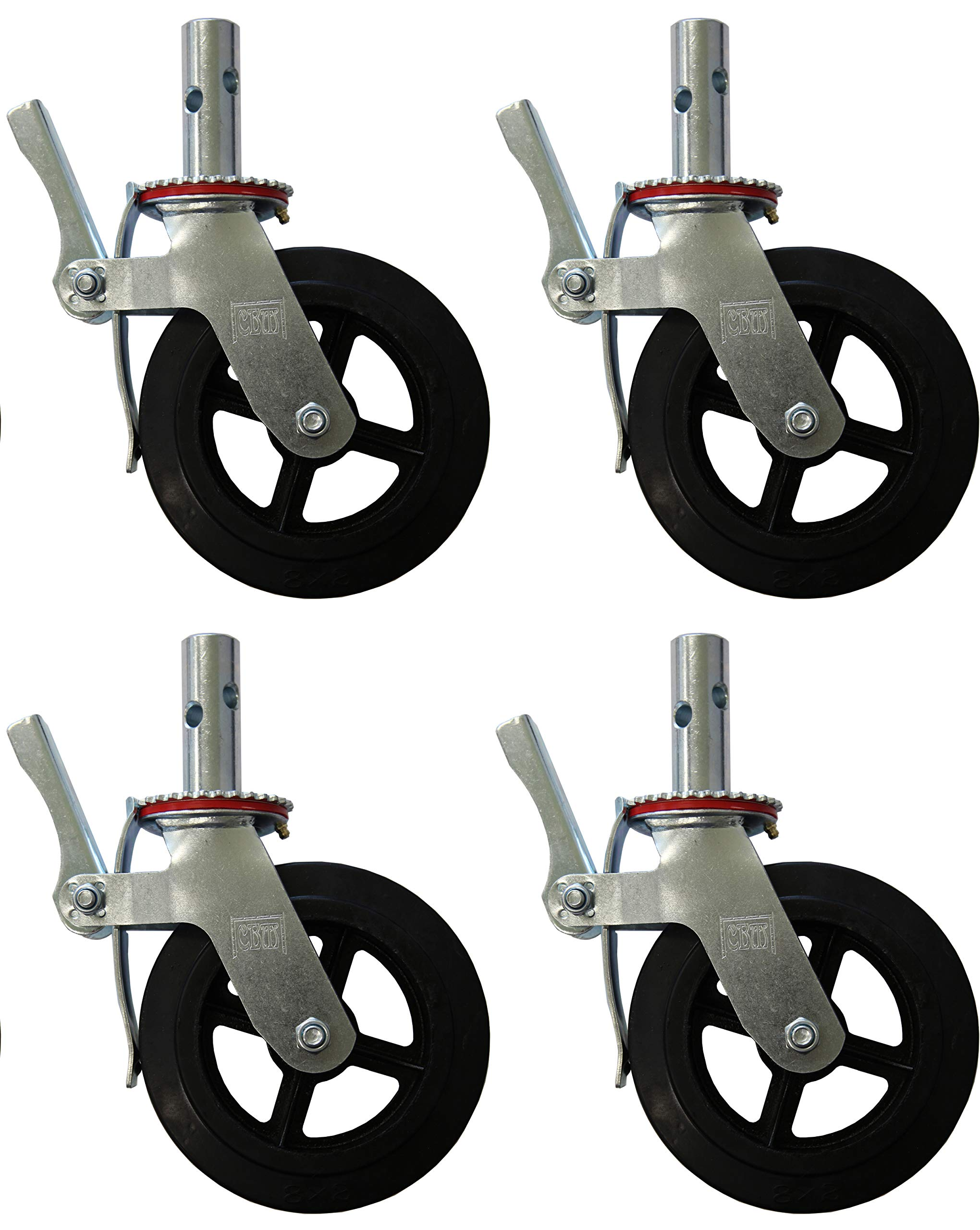 A Set of 4 Wheel 8'' Caster with Cast Iron Hub 1 3/8'' Caster Wheel With 2 Lock-in Brakes Scaffolding Rolling Tower CBM1290 by CBM Scaffold