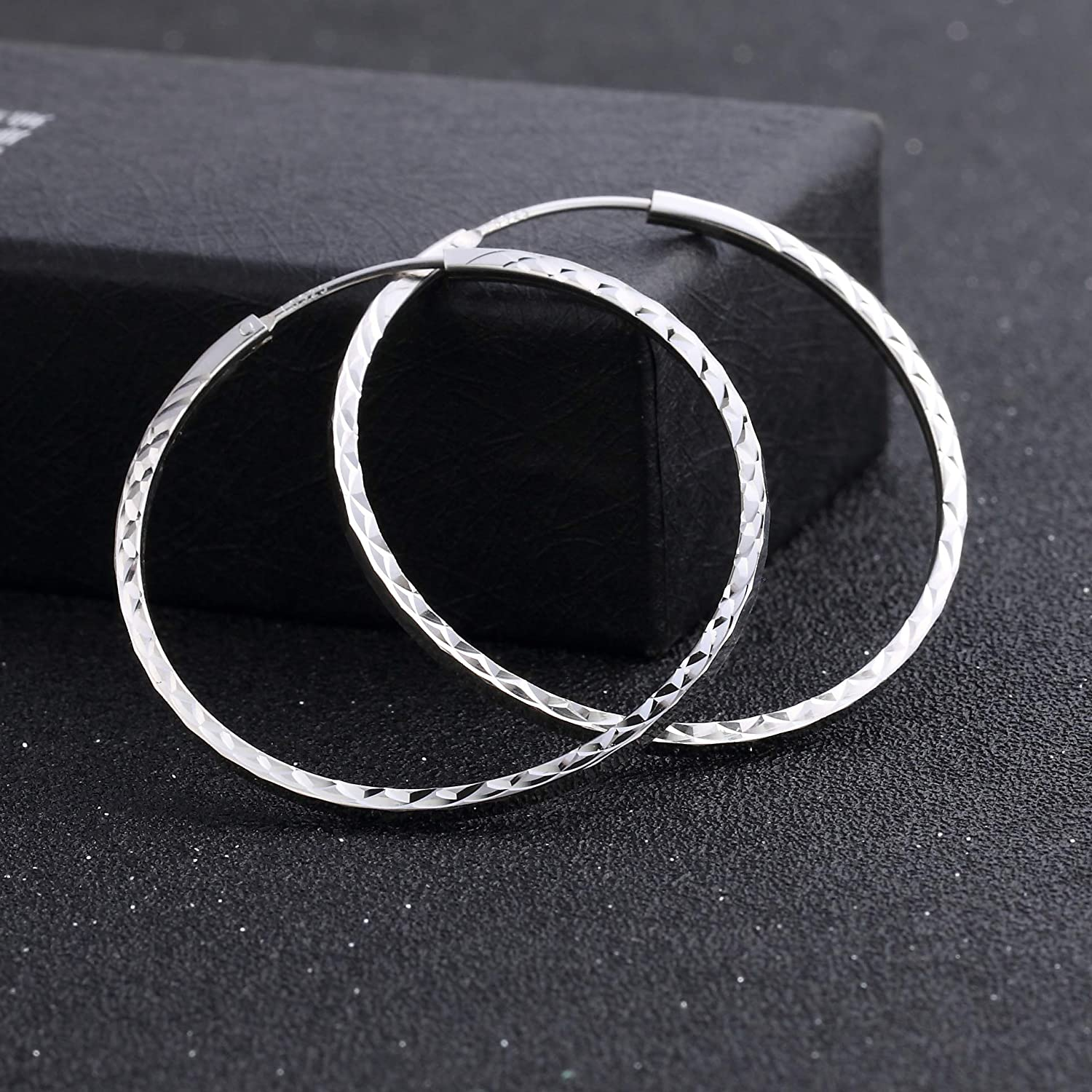 FHX 2019 New European and American Personality Big Circle 925 Sterling Silver Ladies Jewelry Simple Hoop Earrings for Women Girls Gift.