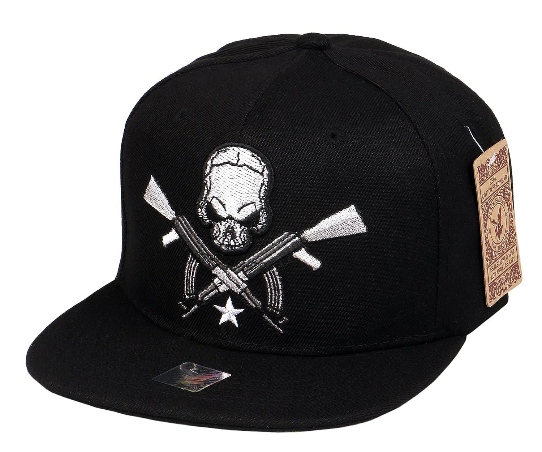998e71c963e RufnTop Embroidered Adjustable Flat Bill Baseball Punk Hat Snapback Cap(AK  Rifle Skull Black) at Amazon Men s Clothing store