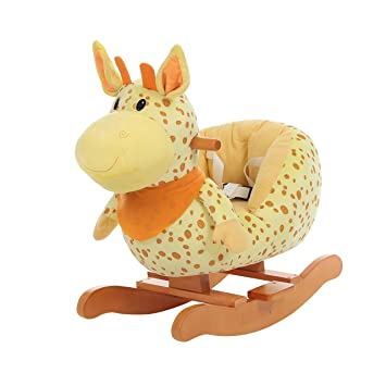 c603adaf5552 Labebe Child Rocking Horse Plush, Fawn Rocking Horse Stuffed, Yellow Giraffe  Rocker for Kid