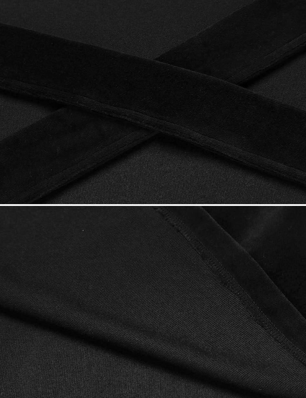 Goldenfox Men Soft Cotton Robe Long Sleeve Patchwork Wrap Belted Bathrobe Sleepwear S-XXL