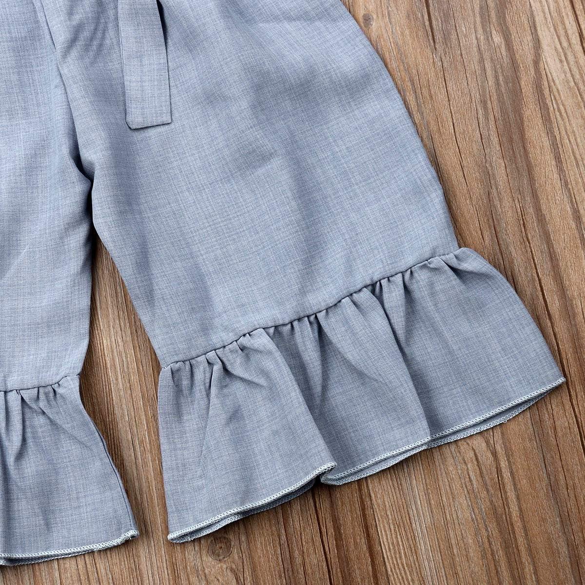 Qiylii Toddler Little Girls Ruffle Sleeveless Sumflower Romper Jumpsuit Bell-Bottom Pants Kids Jumper Clothes