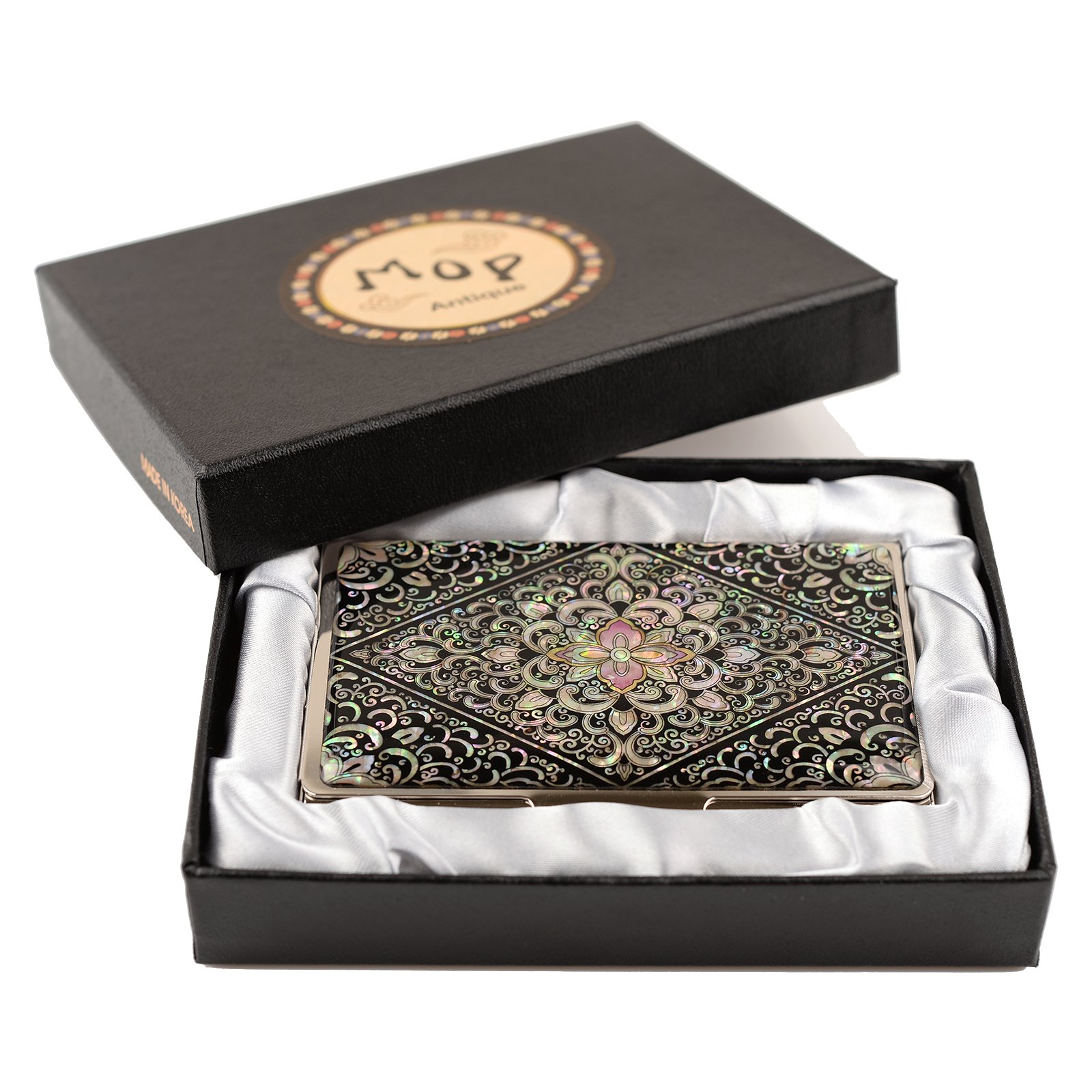 business name card holder stainless steel case Mother of Pearl Art Arabesque by MOP antique (Image #6)