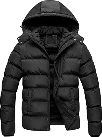 Winter Mens Quilted Waterproof Coat Padded Puffer Hooded Snow Jacket Warm Parka