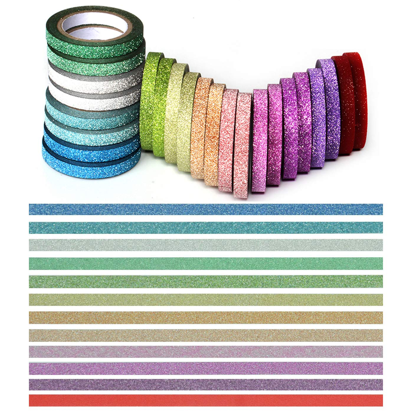 YUKUNTANG Skinny Glitter Paper Washi Tape Set 24 Rolls 12 Color Masking Tape for DIY Crafts Book Designs 4336847172