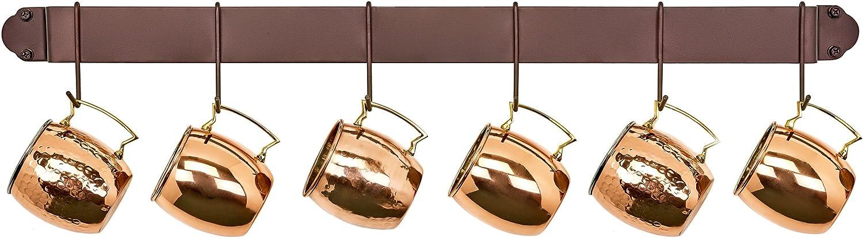 Old Dutch Bar Rack mit 4 Haken kupferfarben Gestell Kupfer Kupfer 86,4 cm 45 cm