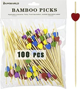 Bamboo Cocktail Picks Bamboo Skewers Food Picks 4.7 Inch Toothpicks with Handmade Design Skewers for Party Fruit and Food Snacks (Love, 100)