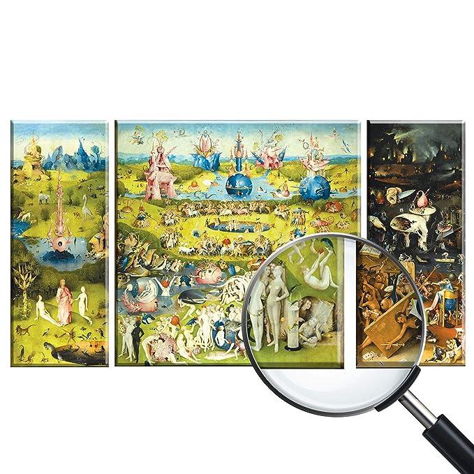 Giallobus Cuadro de Paneles múltiples en 3 Piezas - El Jardin de Las delicias - Impresion en Vidrio acrílico plexiglás - Listo para Colgar - 40x100 cm - 100x100 cm - 40x100 cm: Amazon.es: Hogar