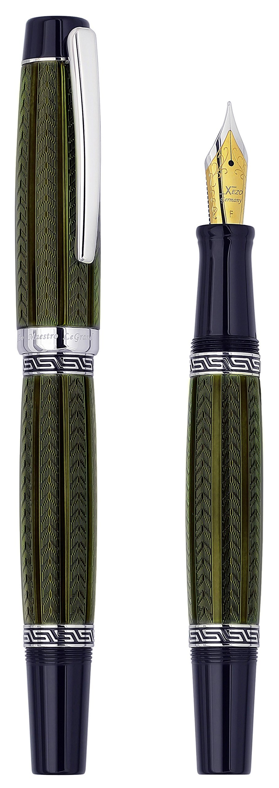 Xezo Maestro LeGrand Diamond Cut, Lacquered, Platinum Plated Fine Point Fountain Pen in Moldavite Color