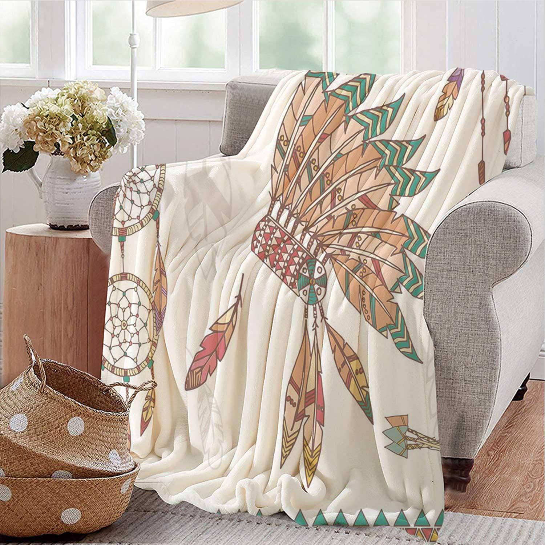 YOLIYANA Feather Warm Flannel Blanket,Primitive Chief Headdress Arrows Dreamcatchers Native American Decorative for Car,72'' L x 78'' W by YOLIYANA
