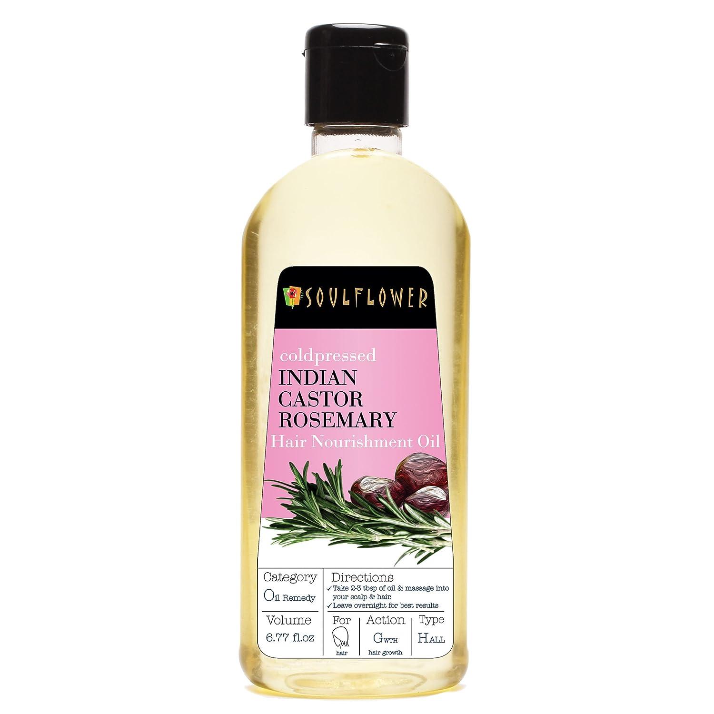 Soulflower Cold Pressed Castor & Rosemary Hair Nourishment Oil- Top 100% Pure Castor & Rosemary Oil For Hair Growth & Hair Loss, 6.77 Fl.Oz- Natural Hair Oil For Unique Shine + BONUS Travel Mini Spray