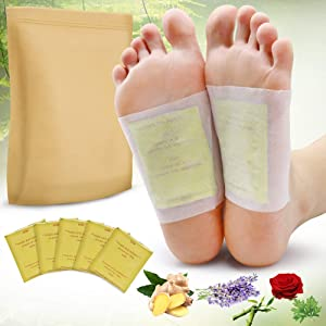 Foot Pads, 100PCS Relief Stress Foot Pads and 100PCS Adhesive Sheets for Foot Care Removing Impurities, Relieve Stress Improve Sleep (Gold)
