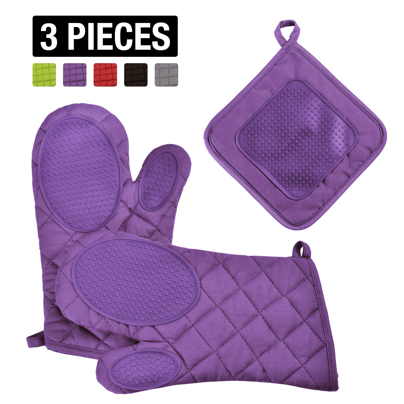 VEEYOO Cotton Oven Mitts Pot Holders Set - Kitchen Silicone Oven Mitt Heat Resistant, Non-slip Grip Oven Gloves Potholder 3 Packs Cooking, Baking & BBQ, Purple by VEEYOO (Image #1)