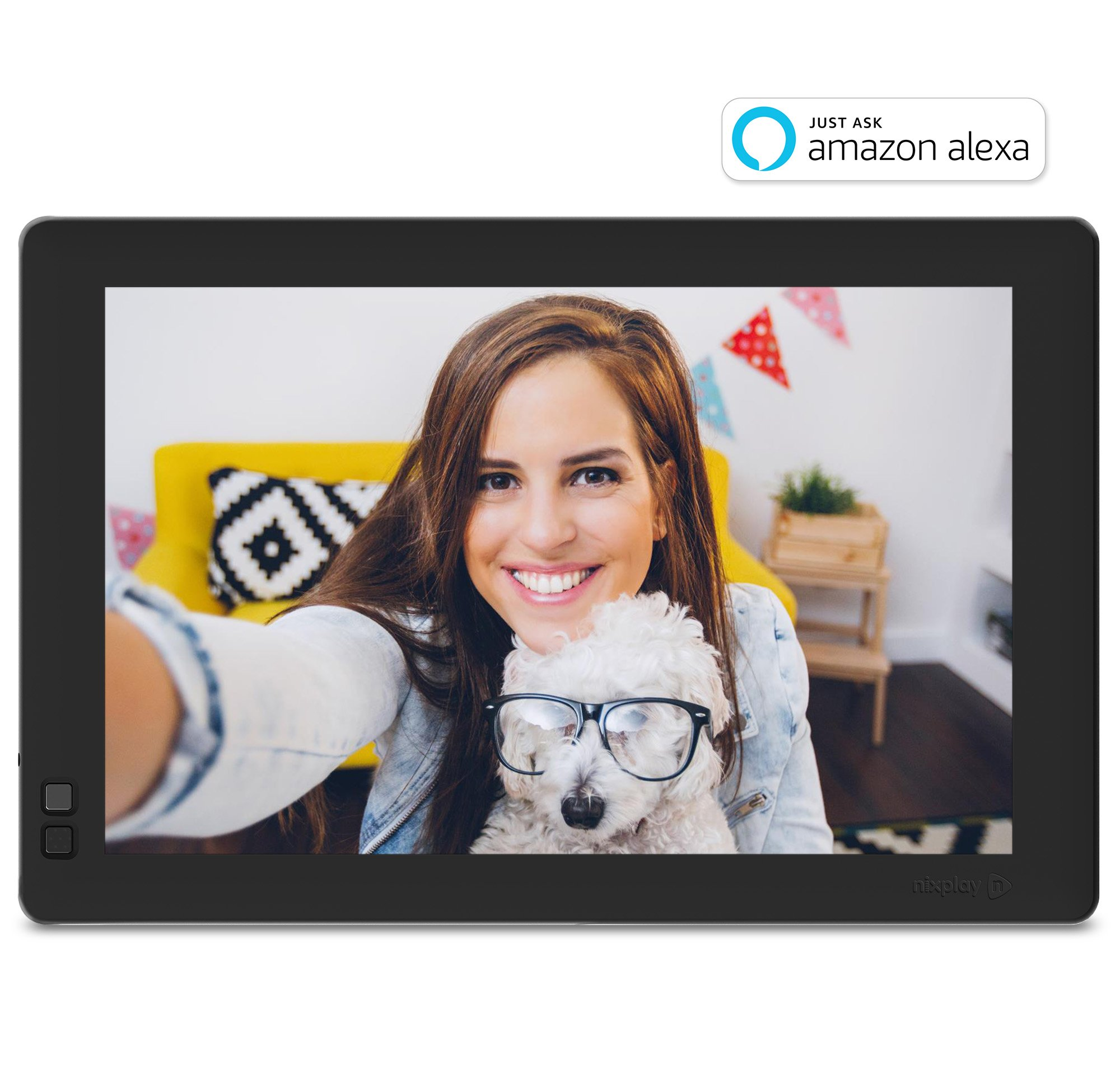 Nixplay W10B Seed 10.1'' Widescreen Wi-Fi Cloud Digital Photo Frame with IPS Display, iPhone & Android App, iOS Video Playback, Free 10GB Online Storage, Alexa Integration and Hu-Motion Sensor, Black