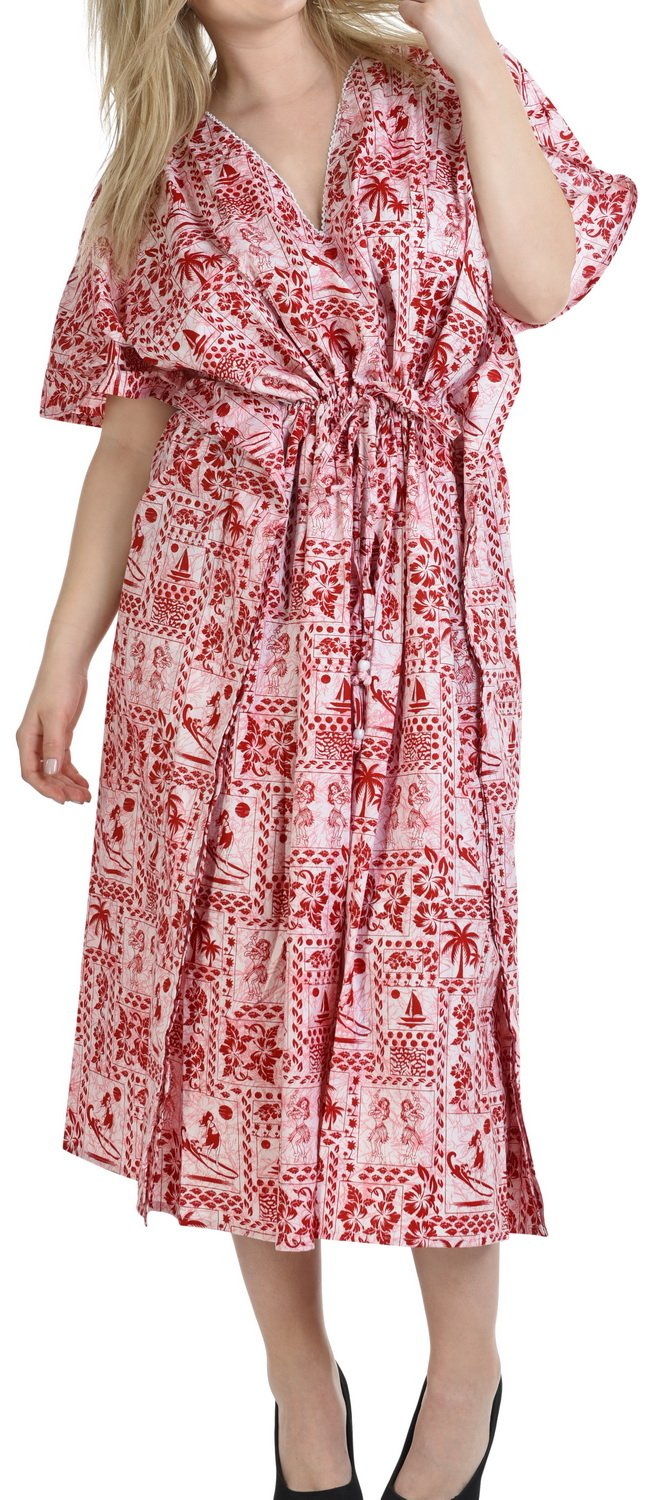 LA LEELA Cotton Printed Loose Gown Women OSFM 14-18 [L-2X] Red_6258