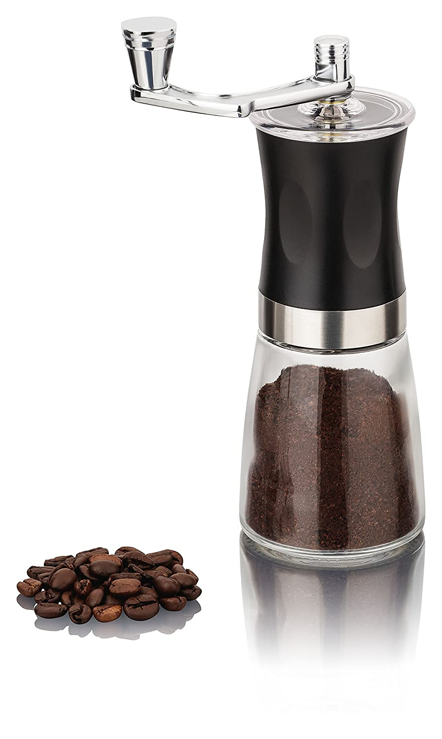 Manual Coffee Grinder with Ceramic Grinding Mechanism, Glass, Can Be Continuously Adjusted Manual Coffee Grinder Krüger&Gregoriades