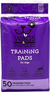 Wags & Wiggles Training Pads For Dogs, 50 Count | Puppy Pee Pads For Dogs | Dog and Puppy Supplies (FF9573)