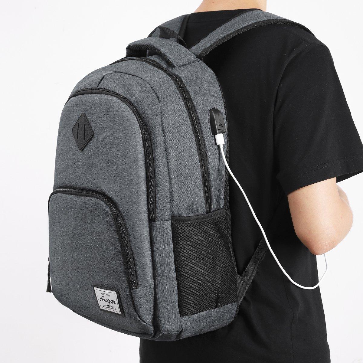 AUGUR Rucksack Laptop mit usb ladeanschluss und 15.6 laptopfach für Business Arbeit Schule Universität Herren 35L