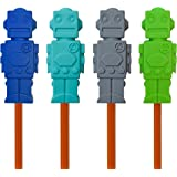 Sensory Fidget Robot Pencil Toppers - 100% Chewable Oral Motor Aides (Set of 4 - Navy/Aqua/Grey/Green)