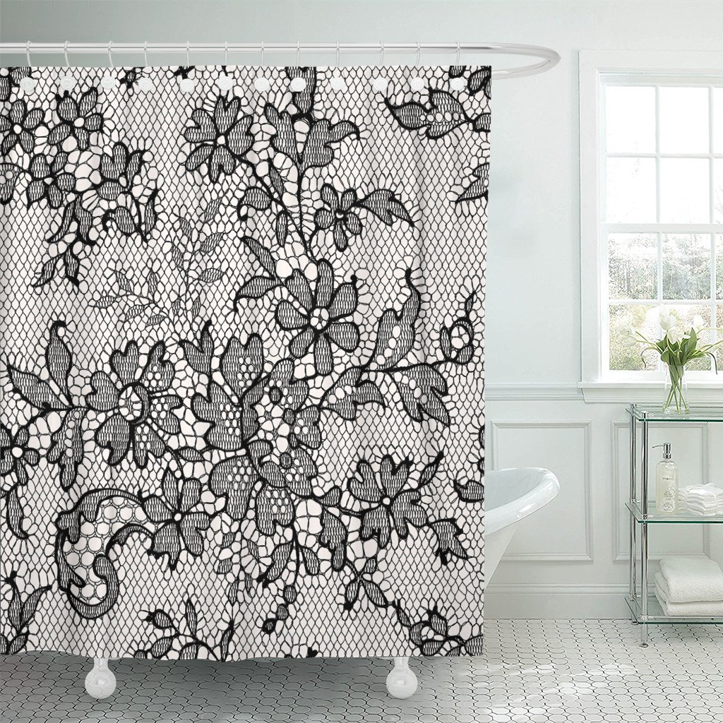 Amazon Emvency Shower Curtain Pink Flower Black Lace Floral Toile Monochrome Waterproof Polyester Fabric 72 X Inches Set With Hooks Home Kitchen
