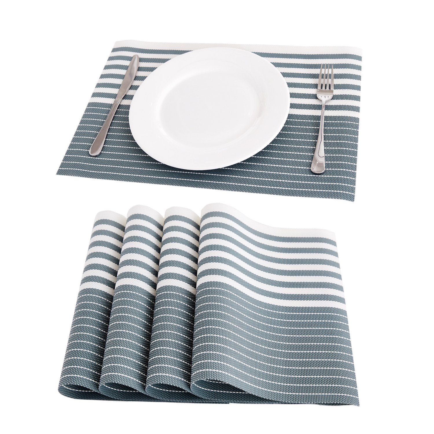 Deconovo Stripe Woven Wipeable Vinyl PVC Placemats Anti-Slip Washable Table Mats Dining Table 12x18 inch Steel-Gray Set of 4