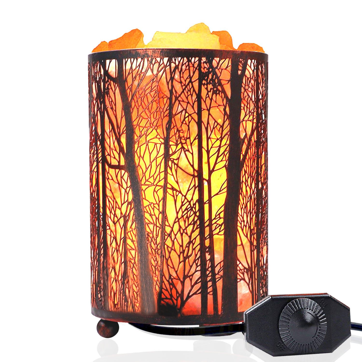 Natural Himalayan Salt Lamp,Air Purifying Pink Salt Rock Lamp Night Light in Forest Design Metal Basket with Dimmer Switch (4.1 x 6.5