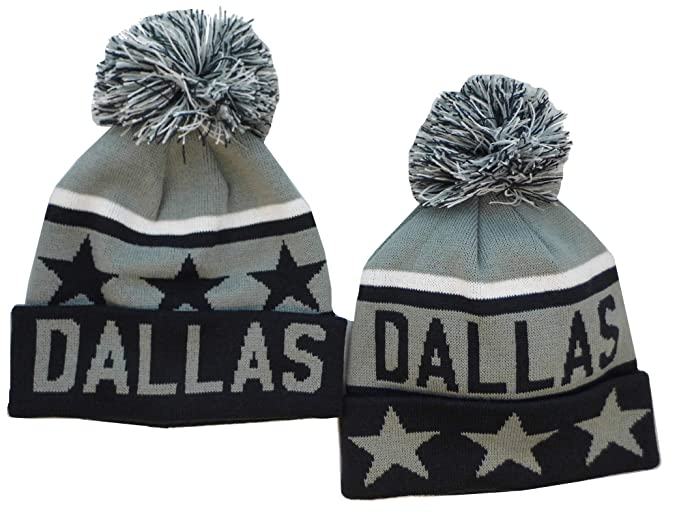 5dfddc31ee3 Amazon.com  Altis Apparel Dallas Striped Winter Knit Hat Pom Pom Beanie Hat  with Cuff (Grey Navy 2-Pack)  Clothing