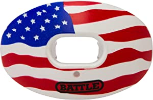 Battle Oxygen Lip Protector Mouthguard – Football and Sports Mouth Guard – Maximum Oxygen – Mouthpiece Fits with or Without Braces – Impact Shield Protects Lips and Teeth, Limited Edition USA Flag