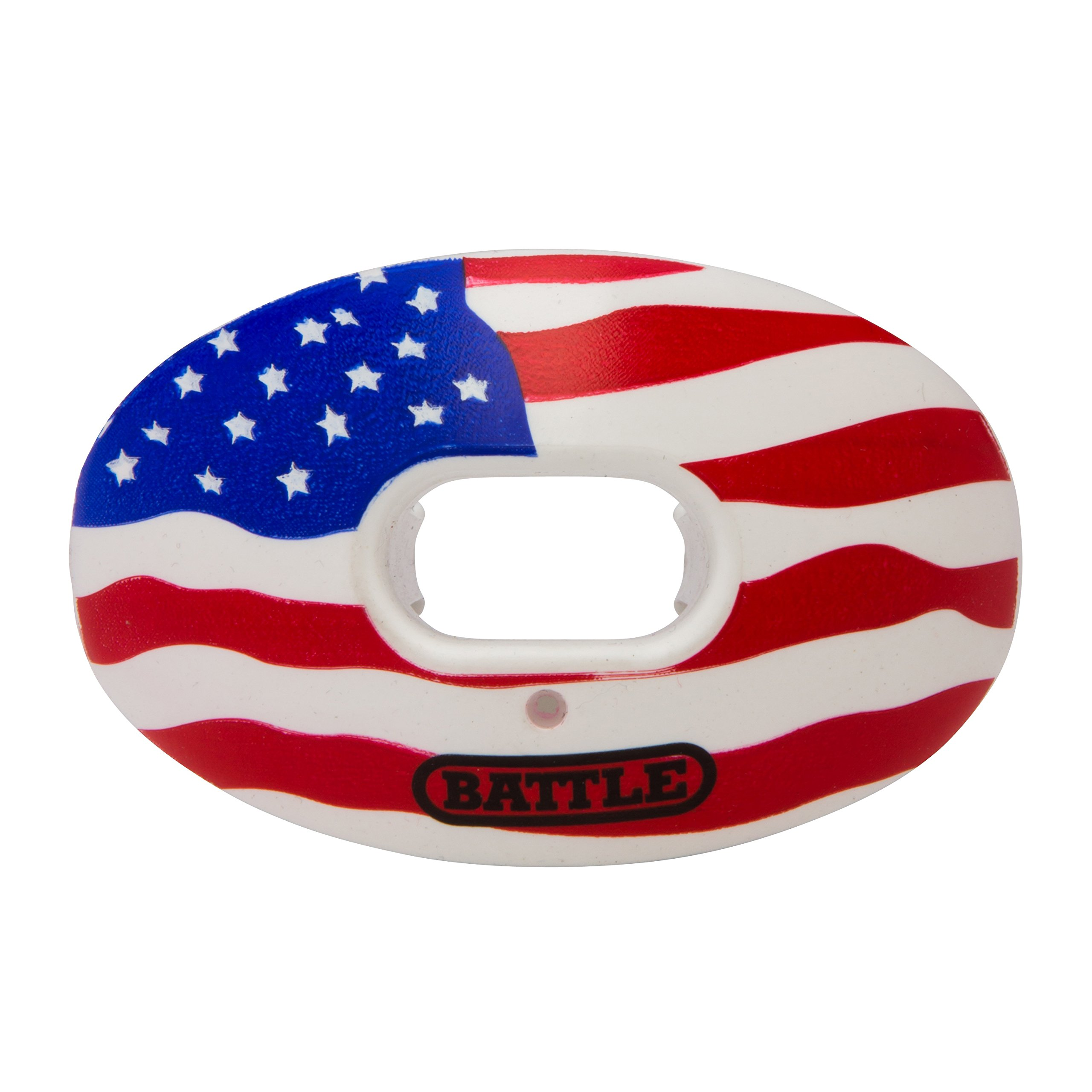 Battle Oxygen Lip Protector Mouthguard - Football and Sports Mouth Guard - Maximum Oxygen - Mouthpiece Fits with or Without Braces - Impact Shield Protects Lips and Teeth, Limited Edition USA Flag by Battle