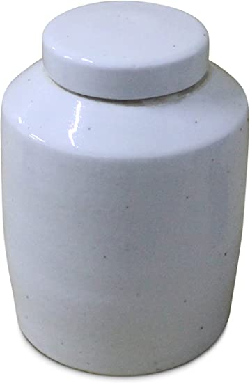 Sarreid 40138 Lidded Ceramic Vessel White