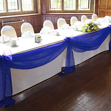 VLoveLife Royal Blue 197u0026quot;x53u0026quot; Sheer Organza Top Table Swag Fabric Table  Runner Chair