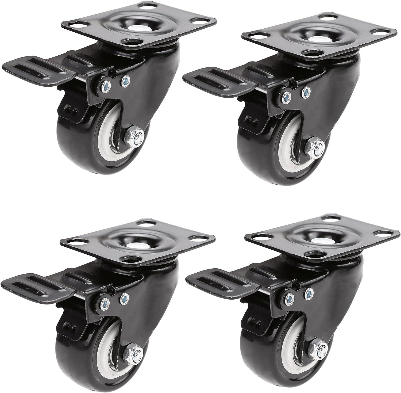 3 Hausee 4 x Lenkrollen mit 2 Bremse Schwenkrollen Tragkraft 400kg 2//50mm Schwarz
