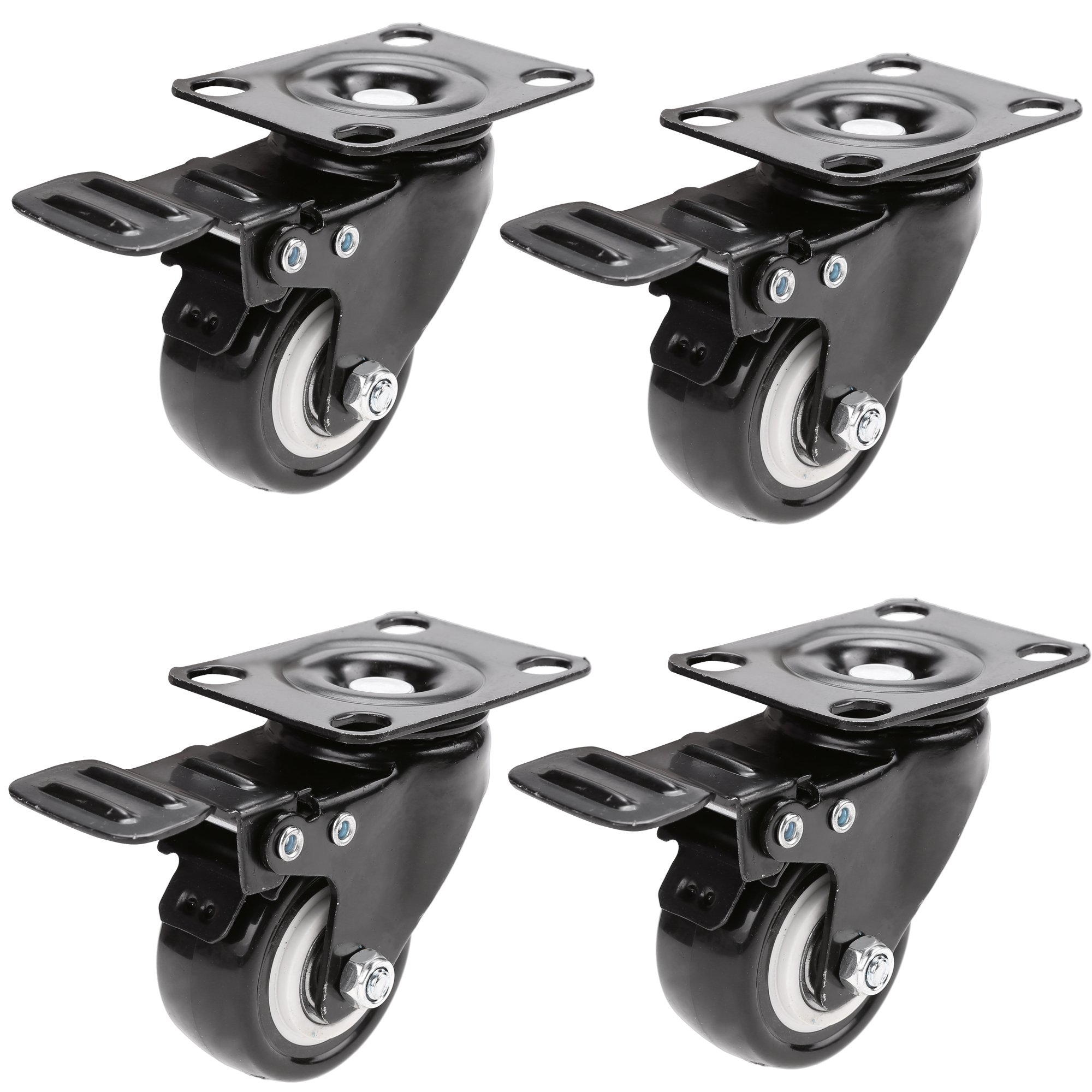 4 Pack 2'' Swivel Caster Wheels Heavy Duty Beach Chair Swivel Caster, Locking Swivel Wheel Rubber For Carts, Furniture, Dolly, Workbench, Trolley, Steel Top Plate Ball Bearings Black