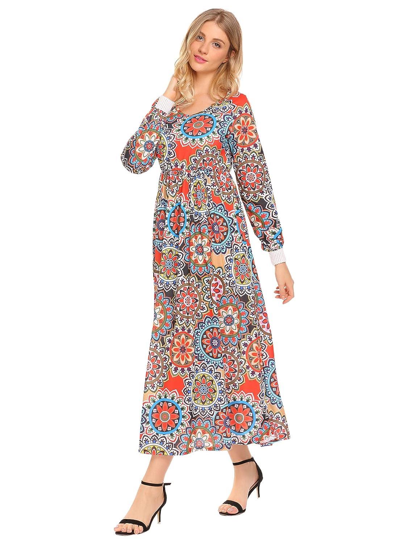 Zeagoo Womens Floral Print Long Sleeve Party Beach Long Maxi Dress
