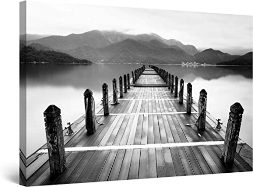 Startonight Canvas Wall Art Black and White Abstract Morning Bridge