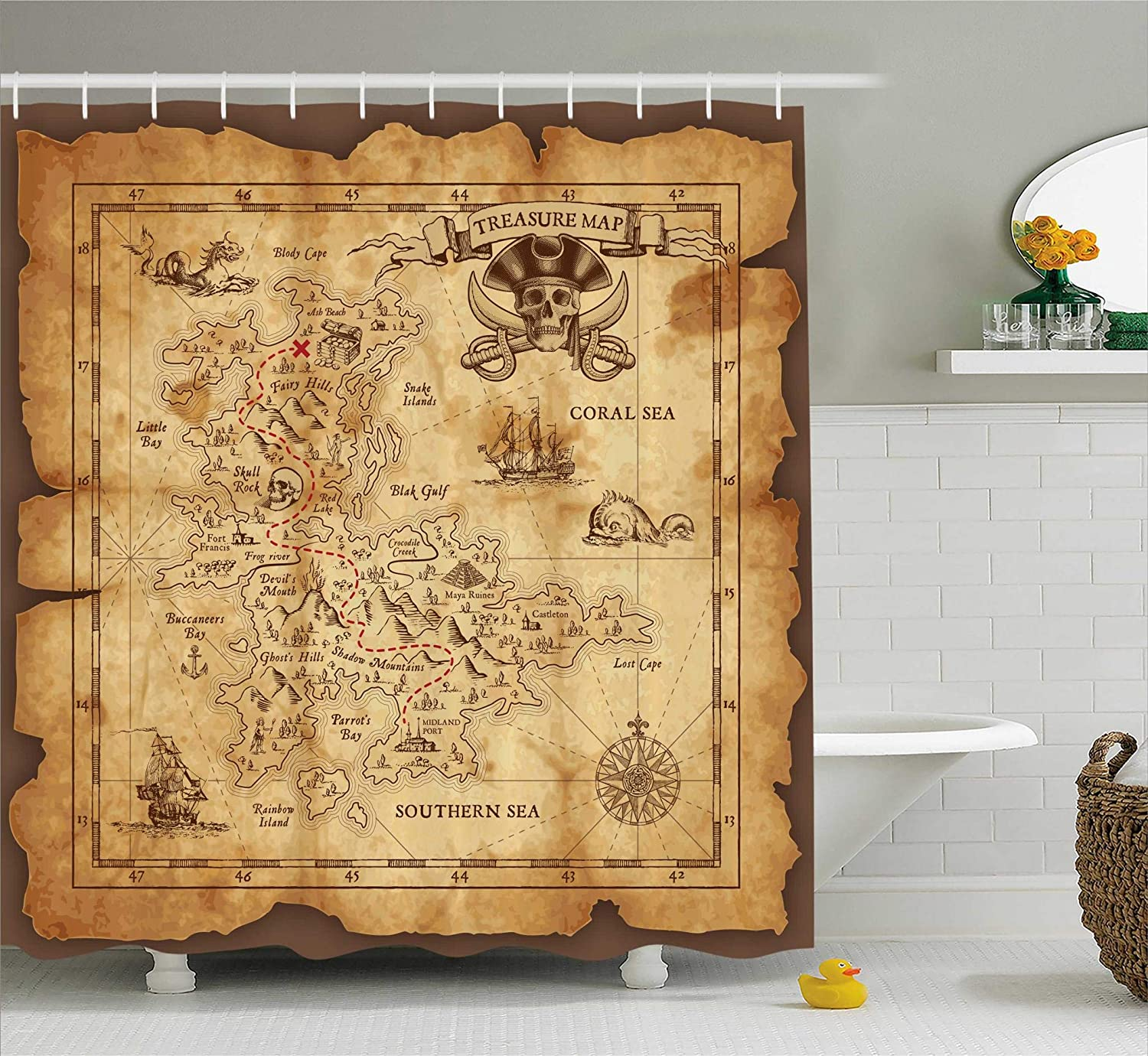 Ambesonne Island Map Decor Shower Curtain Set, Super Detailed Treasure Map Grungy Rustic Pirates Gold Secret Sea History Theme, Bathroom Accessories, 75 Inches Long, Beige Brown