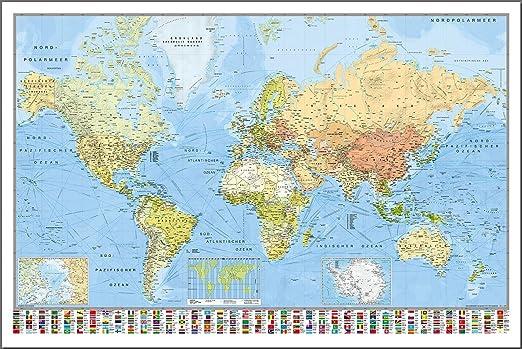 Close Up Weltkarte Die Welt Deutsch Aktueller Stand Mit