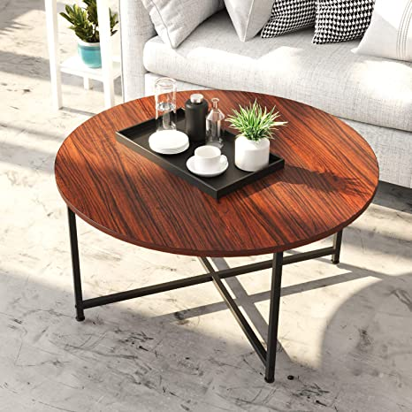 Amazon Com Ironck Round Coffee Table Industrial Table For Living Room With X Base Metal Frame Stable Easy Assebly Sofa Table Office Table Entertainment Center For Gaming Kitchen Dining