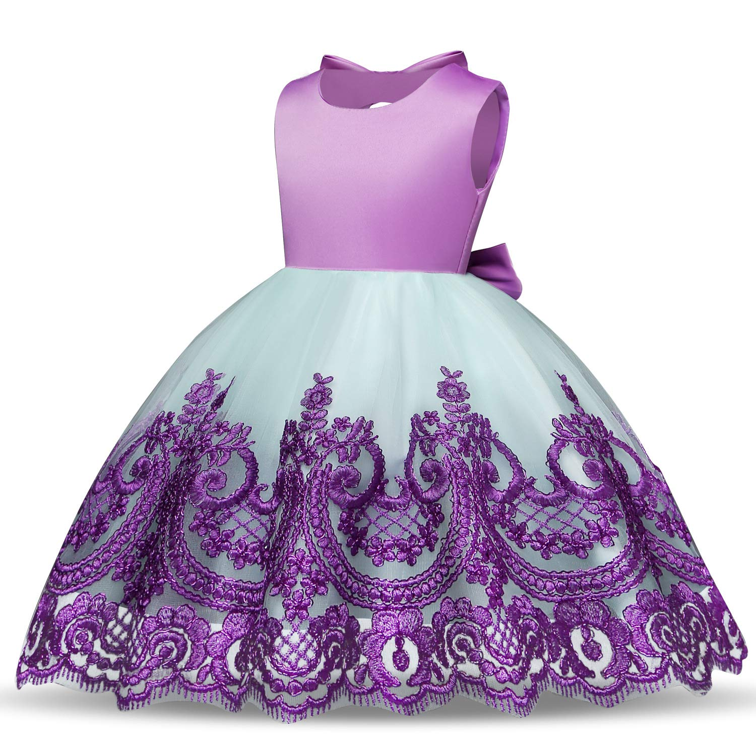 c5f64a87f Flower Girls Dress Baby/Toddle/Little Kids Child Pageant Party Tea Prom  Performance Tutu Dress 5T (Purple,120)